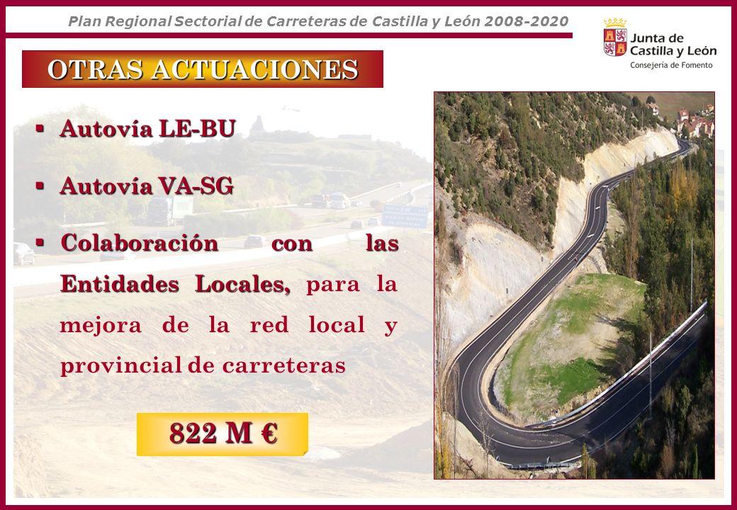 Plan Regional Sectorial de Carreteras de Castilla y León 2008-2020 OTRAS ACTUACIONES Autovía LE-BU Autovía LE-BU Autovía VA-SG Autovía VA-SG Colaborac
