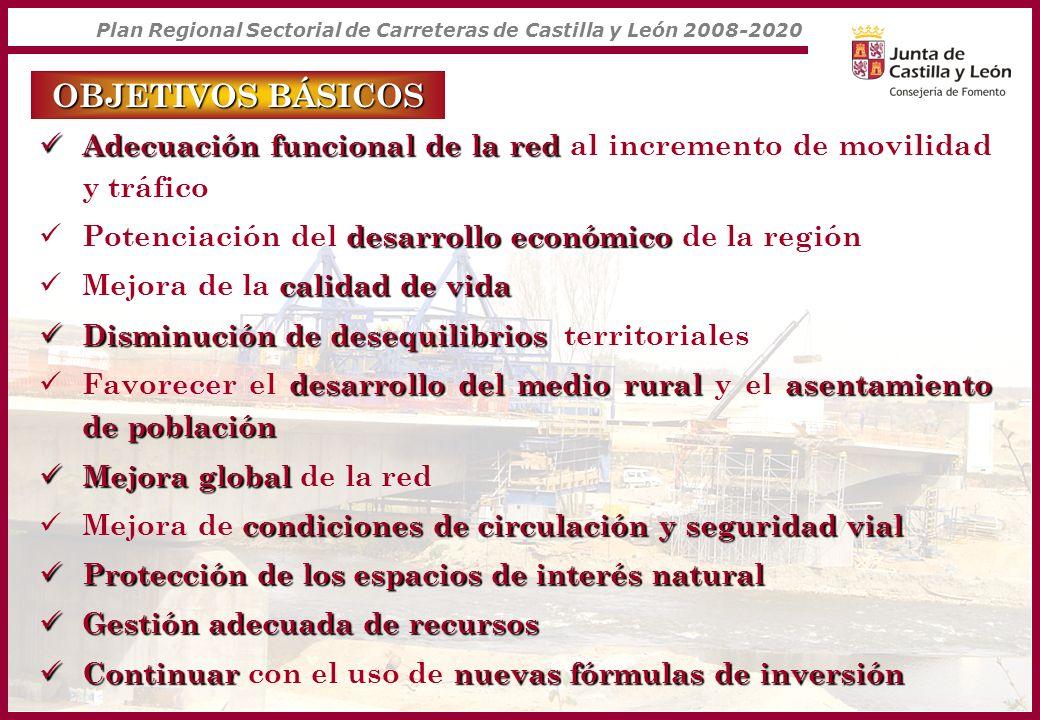 Plan Regional Sectorial de Carreteras de Castilla y León 2008-2020 OBJETIVOS CONCRETOS Completar la modernización de la Red Principal Completar la modernización de la Red Principal todas las carreterasancho mínimo de 6 metros Adecuación de la Red Complem.