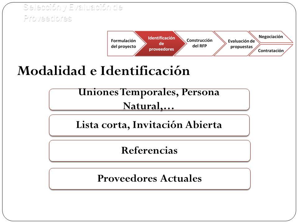 Selección y Evaluación de Proveedores Uniones Temporales, Persona Natural,… Referencias Lista corta, Invitación Abierta Proveedores Actuales Modalidad e Identificación