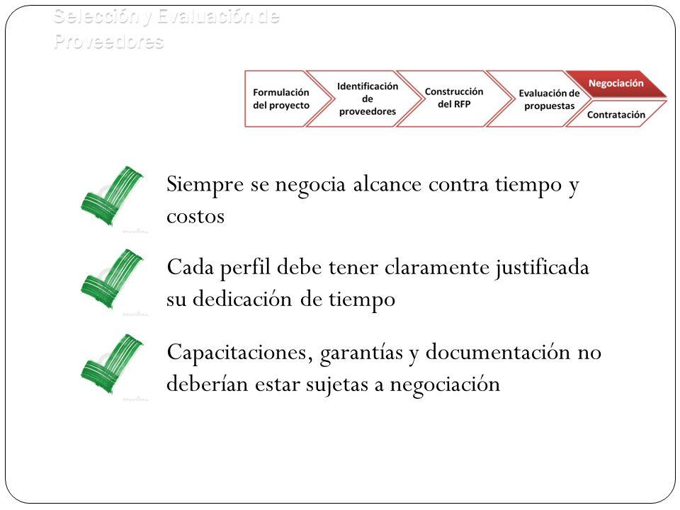 Selección y Evaluación de Proveedores Siempre se negocia alcance contra tiempo y costos Cada perfil debe tener claramente justificada su dedicación de tiempo Capacitaciones, garantías y documentación no deberían estar sujetas a negociación