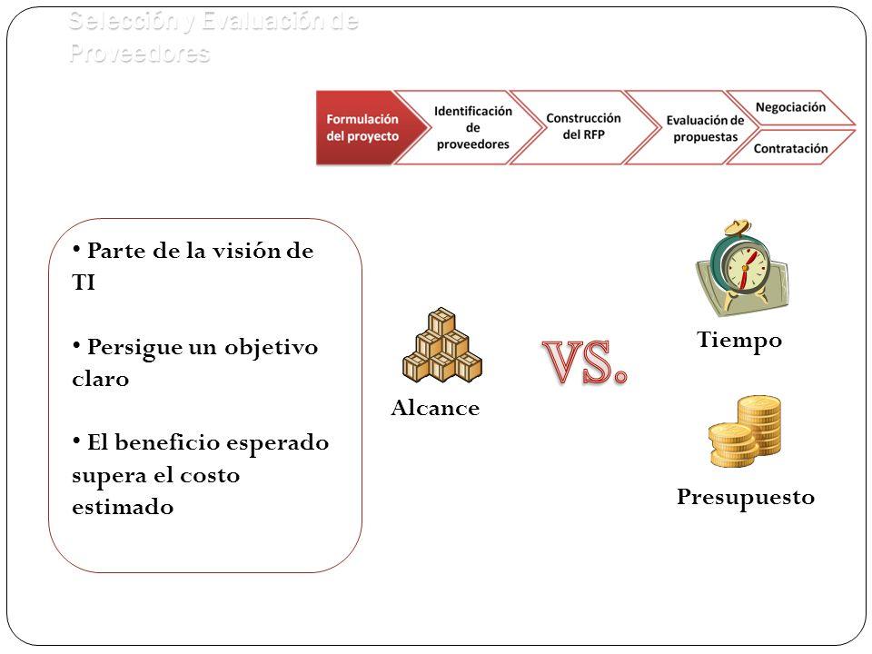 Presupuesto Tiempo Alcance Parte de la visión de TI Persigue un objetivo claro El beneficio esperado supera el costo estimado Selección y Evaluación de Proveedores