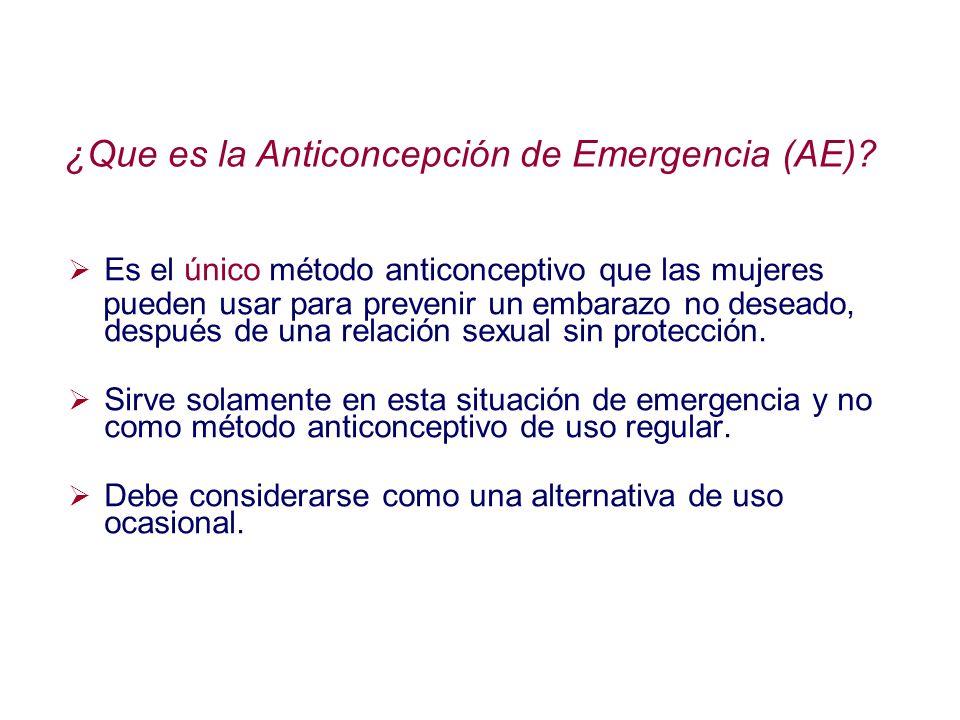 ¿Que es la Anticoncepción de Emergencia (AE)? Es el único método anticonceptivo que las mujeres pueden usar para prevenir un embarazo no deseado, desp