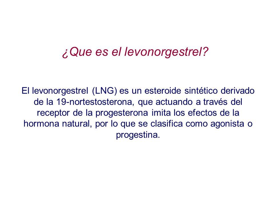 El levonorgestrel (LNG) es un esteroide sintético derivado de la 19-nortestosterona, que actuando a través del receptor de la progesterona imita los e