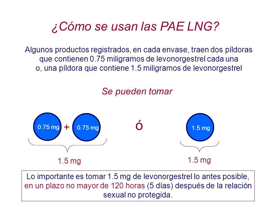 ¿Cómo se usan las PAE LNG? Algunos productos registrados, en cada envase, traen dos píldoras que contienen 0.75 miligramos de levonorgestrel cada una
