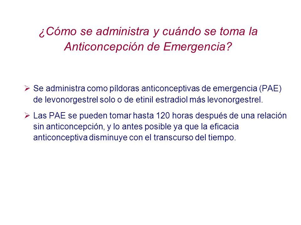 ¿Cómo se administra y cuándo se toma la Anticoncepción de Emergencia? Se administra como píldoras anticonceptivas de emergencia (PAE) de levonorgestre