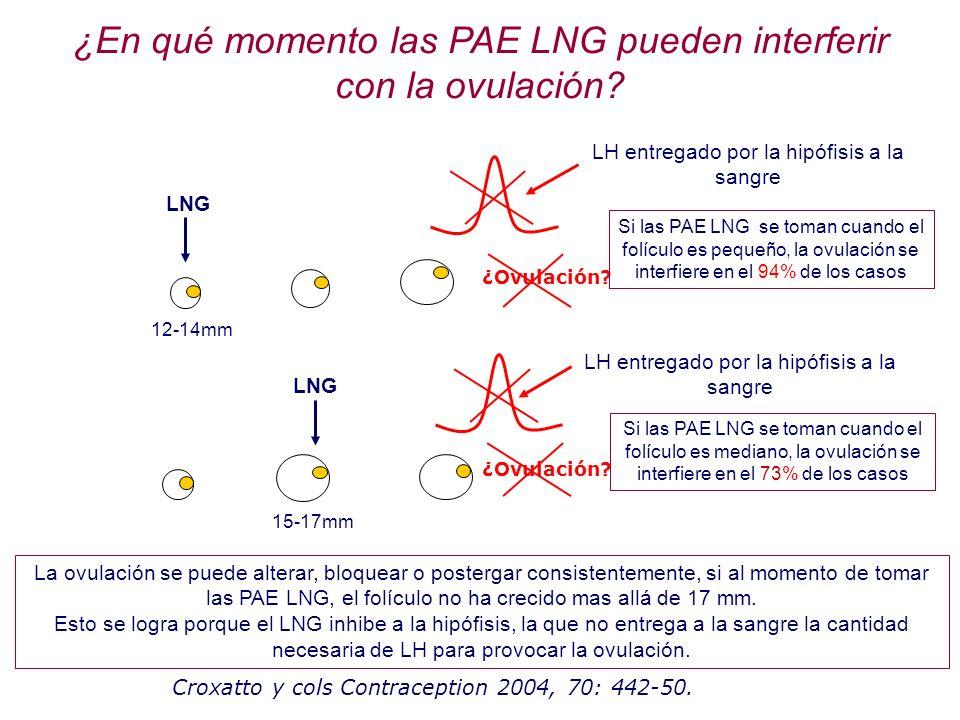 LH entregado por la hipófisis a la sangre ¿Ovulación? LNG 12-14mm ¿En qué momento las PAE LNG pueden interferir con la ovulación? La ovulación se pued