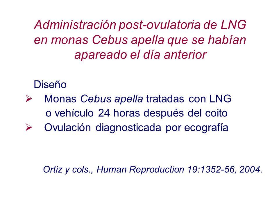 Diseño Monas Cebus apella tratadas con LNG o vehículo 24 horas después del coito Ovulación diagnosticada por ecografía Ortiz y cols., Human Reproducti
