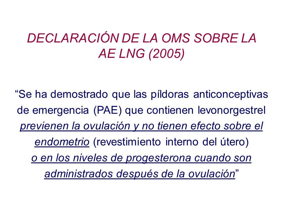 DECLARACIÓN DE LA OMS SOBRE LA AE LNG (2005) Se ha demostrado que las píldoras anticonceptivas de emergencia (PAE) que contienen levonorgestrel previe