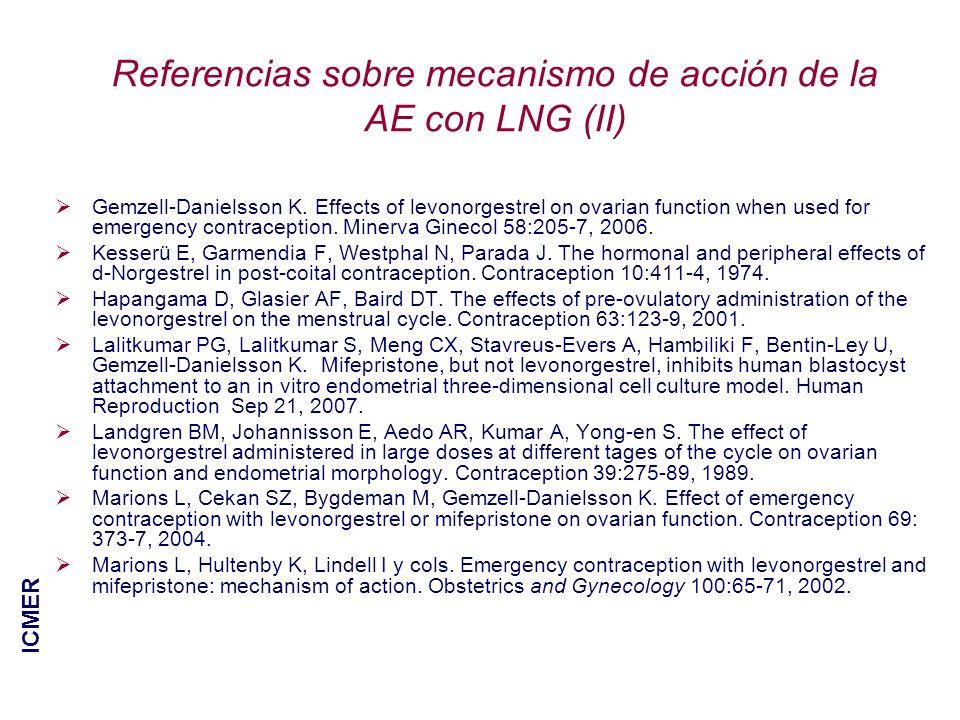 Referencias sobre mecanismo de acción de la AE con LNG (II) Gemzell-Danielsson K. Effects of levonorgestrel on ovarian function when used for emergenc