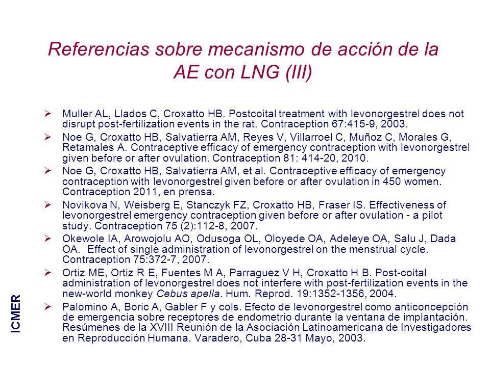 Referencias sobre mecanismo de acción de la AE con LNG (III) Muller AL, Llados C, Croxatto HB. Postcoital treatment with levonorgestrel does not disru