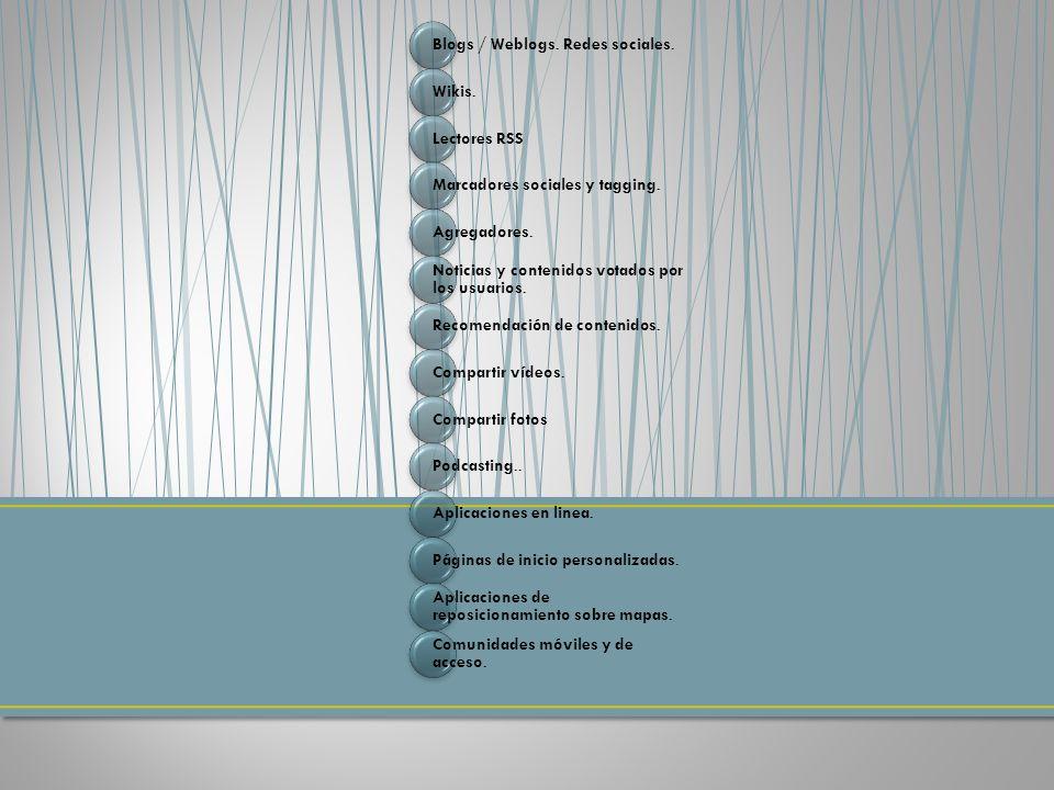 Blogs / Weblogs. Redes sociales. Wikis. Lectores RSS Marcadores sociales y tagging.