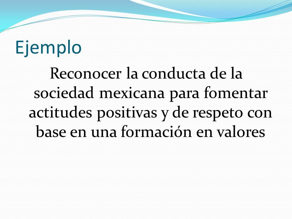 Ejemplo Reconocer la conducta de la sociedad mexicana para fomentar actitudes positivas y de respeto con base en una formación en valores