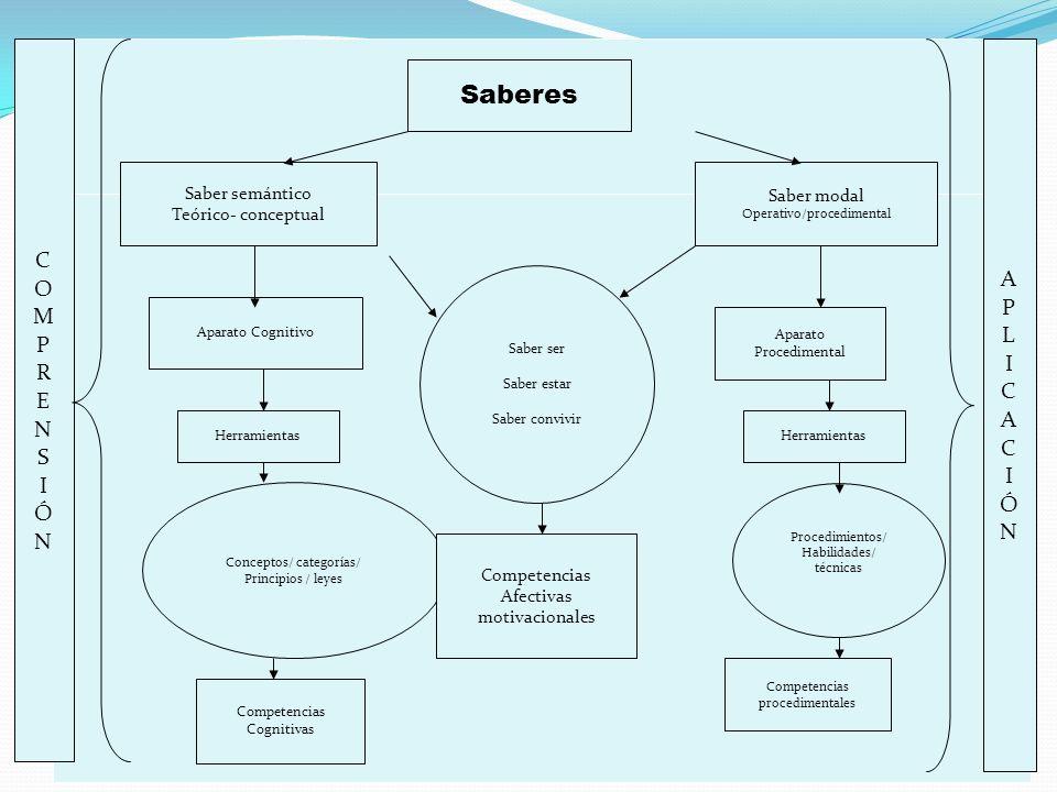 Saberes Saber semántico Teórico- conceptual Aparato Cognitivo Herramientas Conceptos/ categorías/ Principios / leyes Competencias Cognitivas Saber mod
