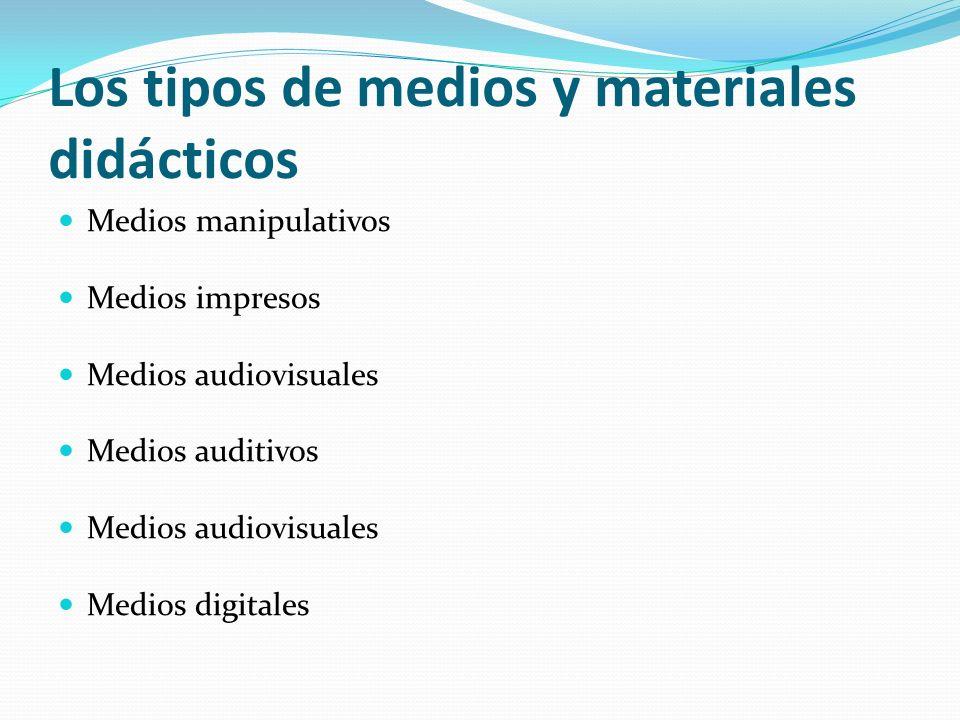 Los tipos de medios y materiales didácticos Medios manipulativos Medios impresos Medios audiovisuales Medios auditivos Medios audiovisuales Medios dig