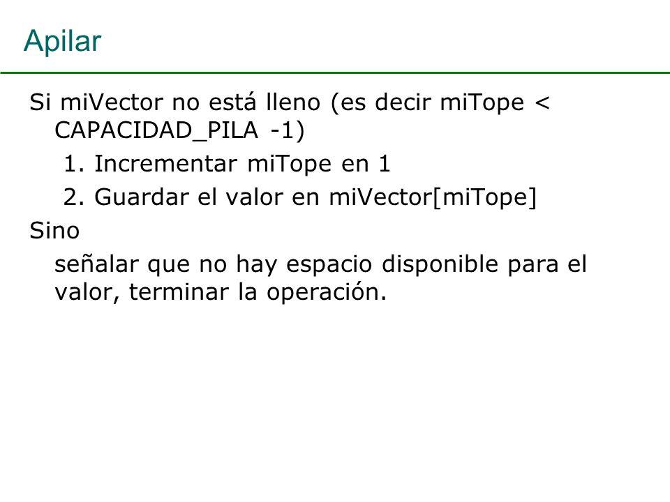 Apilar Si miVector no está lleno (es decir miTope < CAPACIDAD_PILA -1) 1. Incrementar miTope en 1 2. Guardar el valor en miVector[miTope] Sino señalar