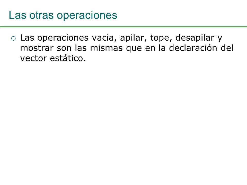 Las otras operaciones Las operaciones vacía, apilar, tope, desapilar y mostrar son las mismas que en la declaración del vector estático.