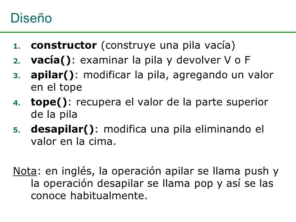 Diseño 1. constructor (construye una pila vacía) 2. vacía(): examinar la pila y devolver V o F 3. apilar(): modificar la pila, agregando un valor en e