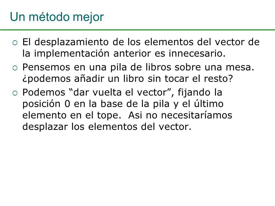 Un método mejor El desplazamiento de los elementos del vector de la implementación anterior es innecesario.