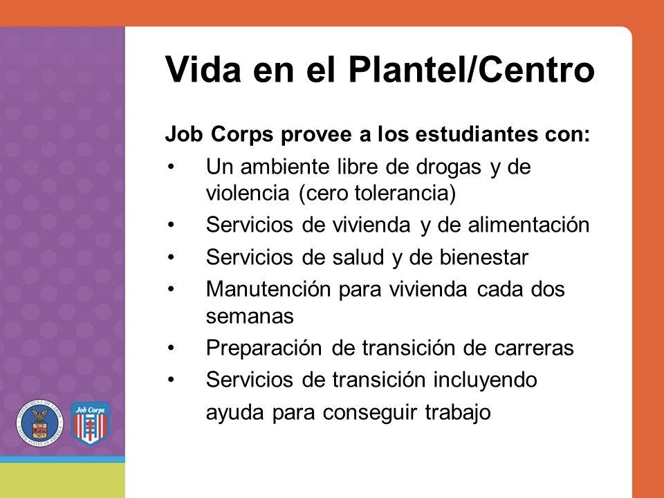 Vida en el Plantel/Centro Job Corps provee a los estudiantes con: Un ambiente libre de drogas y de violencia (cero tolerancia) Servicios de vivienda y de alimentación Servicios de salud y de bienestar Manutención para vivienda cada dos semanas Preparación de transición de carreras Servicios de transición incluyendo ayuda para conseguir trabajo