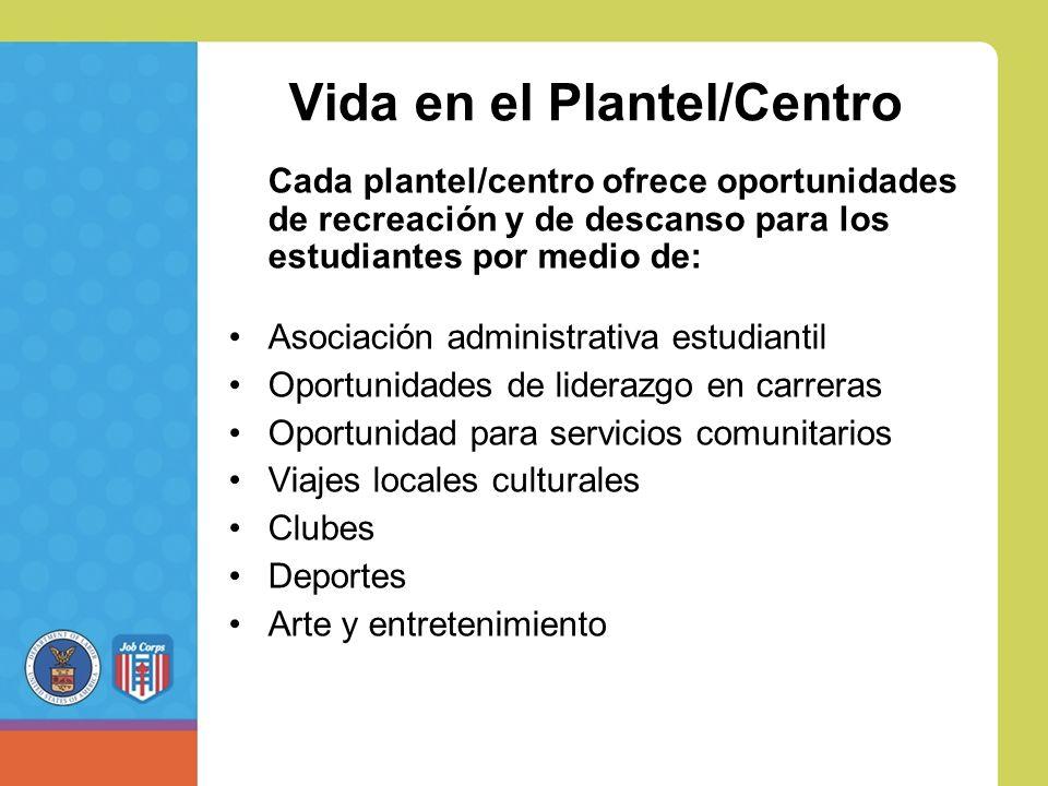Vida en el Plantel/Centro Cada plantel/centro ofrece oportunidades de recreación y de descanso para los estudiantes por medio de: Asociación administrativa estudiantil Oportunidades de liderazgo en carreras Oportunidad para servicios comunitarios Viajes locales culturales Clubes Deportes Arte y entretenimiento