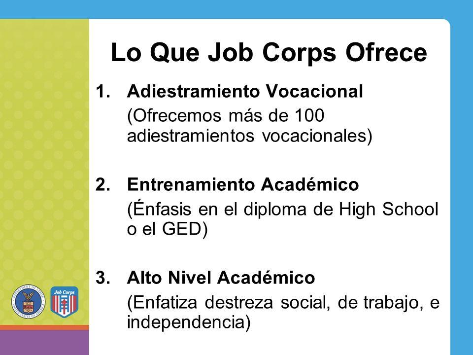 Lo Que Job Corps Ofrece 1.Adiestramiento Vocacional (Ofrecemos más de 100 adiestramientos vocacionales) 2.Entrenamiento Académico (Énfasis en el diploma de High School o el GED) 3.