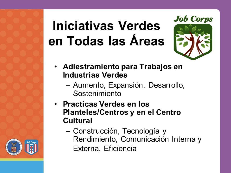 Iniciativas Verdes en Todas las Áreas Adiestramiento para Trabajos en Industrias Verdes –Aumento, Expansión, Desarrollo, Sostenimiento Practicas Verdes en los Planteles/Centros y en el Centro Cultural –Construcción, Tecnología y Rendimiento, Comunicación Interna y Externa, Eficiencia
