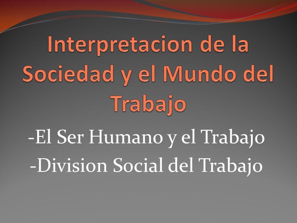 -El Ser Humano y el Trabajo -Division Social del Trabajo