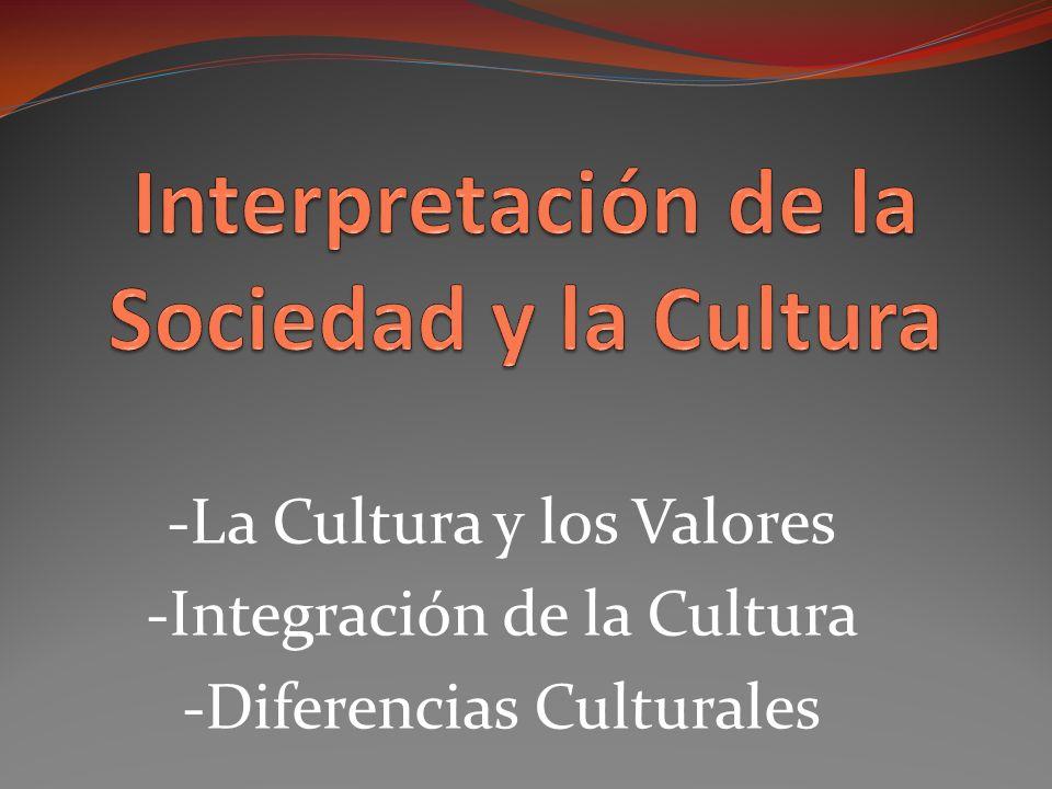 -La Cultura y los Valores -Integración de la Cultura -Diferencias Culturales