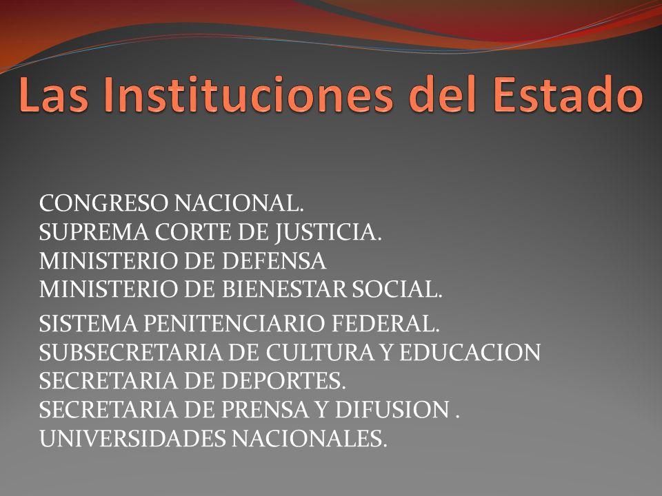 CONGRESO NACIONAL.SUPREMA CORTE DE JUSTICIA. MINISTERIO DE DEFENSA MINISTERIO DE BIENESTAR SOCIAL.