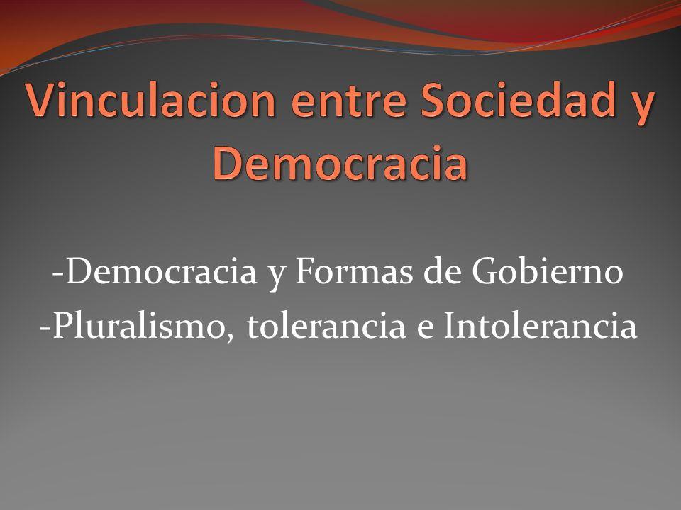 -Democracia y Formas de Gobierno -Pluralismo, tolerancia e Intolerancia