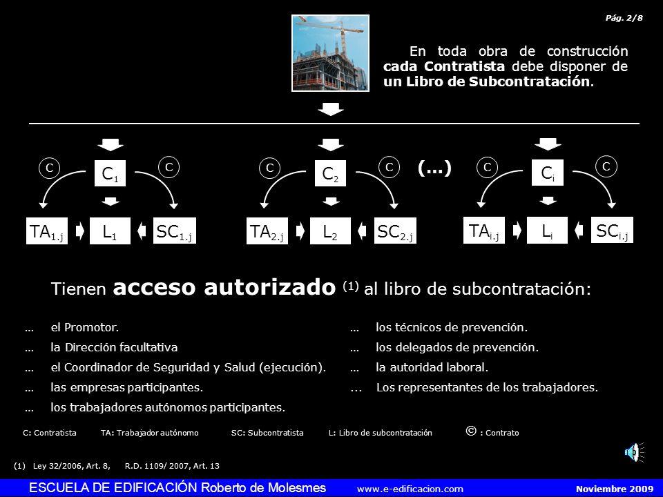 ESCUELA DE EDIFICACIÓN Roberto de Molesmes www.e-edificacion.com Noviembre 2009 C1C1 SC 1.j L1L1 TA 1.j C C C2C2 SC 2.j L2L2 TA 2.j C C CiCi SC i.j LiLi TA i.j C C (…) Tienen acceso autorizado (1) al libro de subcontratación: …el Promotor.…los técnicos de prevención.