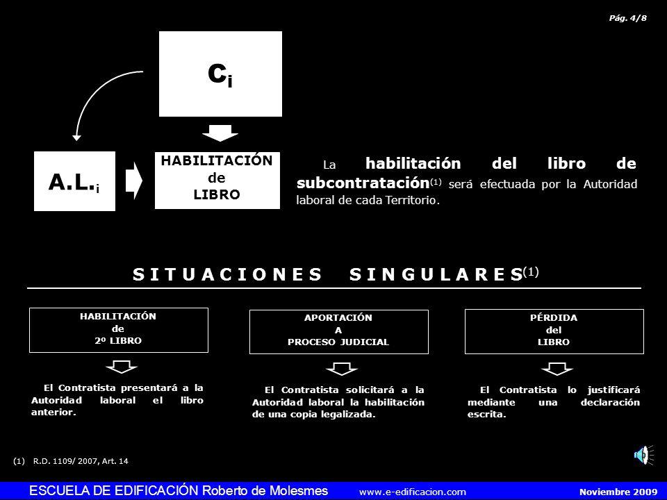 ESCUELA DE EDIFICACIÓN Roberto de Molesmes www.e-edificacion.com Noviembre 2009 El modelo del Libro de Subcontratación (1) se ajustará al establecido oficialmente.