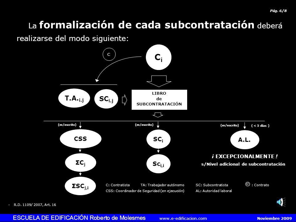 ESCUELA DE EDIFICACIÓN Roberto de Molesmes www.e-edificacion.com Noviembre 2009 La formalización de cada subcontratación deberá realizarse del modo siguiente: -R.D.