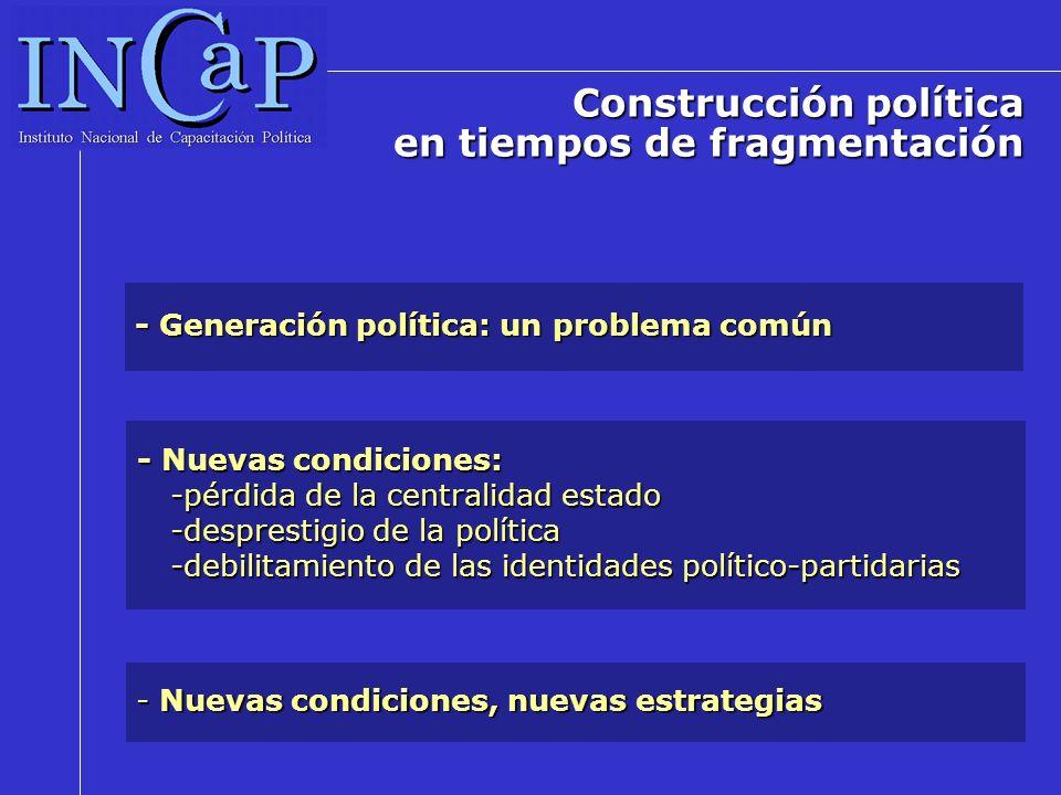 - Generación política: un problema común - Nuevas condiciones: -pérdida de la centralidad estado -desprestigio de la política -debilitamiento de las identidades político-partidarias - Nuevas condiciones, nuevas estrategias Construcción política en tiempos de fragmentación