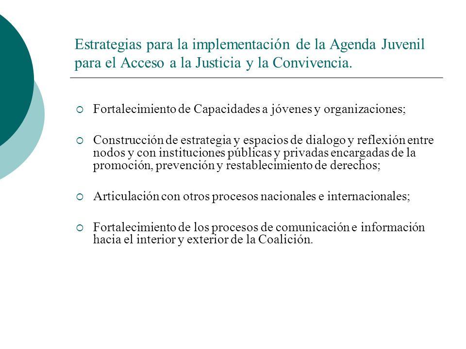Estrategias para la implementación de la Agenda Juvenil para el Acceso a la Justicia y la Convivencia.