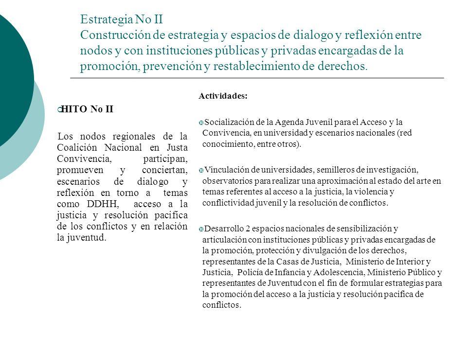 Estrategia No II Construcción de estrategia y espacios de dialogo y reflexión entre nodos y con instituciones públicas y privadas encargadas de la promoción, prevención y restablecimiento de derechos.