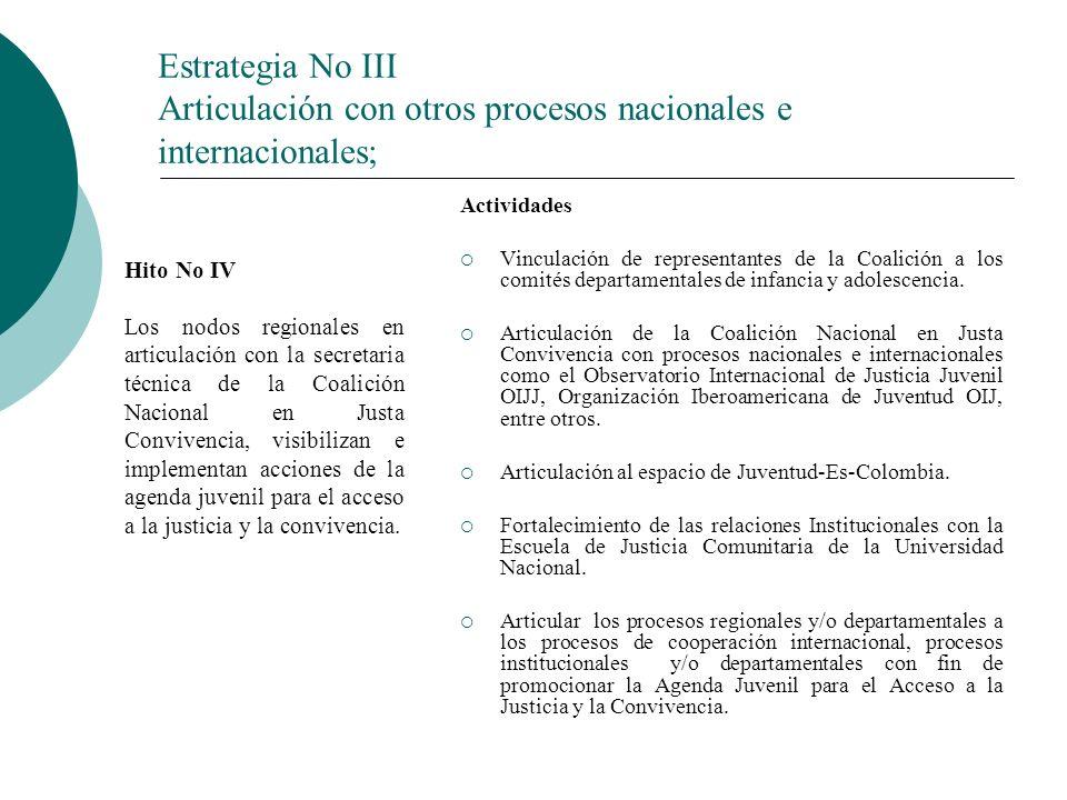 Estrategia No III Articulación con otros procesos nacionales e internacionales; Actividades Vinculación de representantes de la Coalición a los comités departamentales de infancia y adolescencia.
