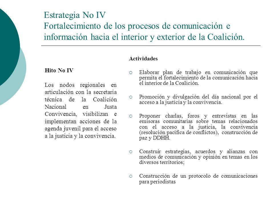 Estrategia No IV Fortalecimiento de los procesos de comunicación e información hacia el interior y exterior de la Coalición.