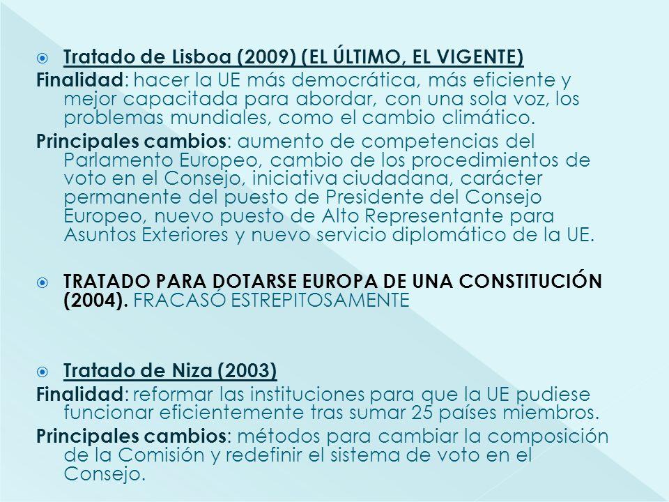 Tratado de Lisboa (2009) (EL ÚLTIMO, EL VIGENTE) Finalidad : hacer la UE más democrática, más eficiente y mejor capacitada para abordar, con una sola