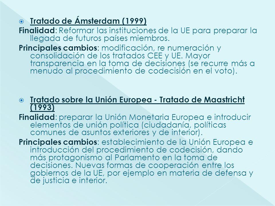 Tratado de Ámsterdam (1999) Finalidad : Reformar las instituciones de la UE para preparar la llegada de futuros países miembros. Principales cambios :