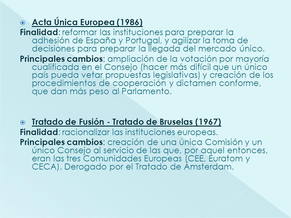 Acta Única Europea (1986) Finalidad : reformar las instituciones para preparar la adhesión de España y Portugal, y agilizar la toma de decisiones para