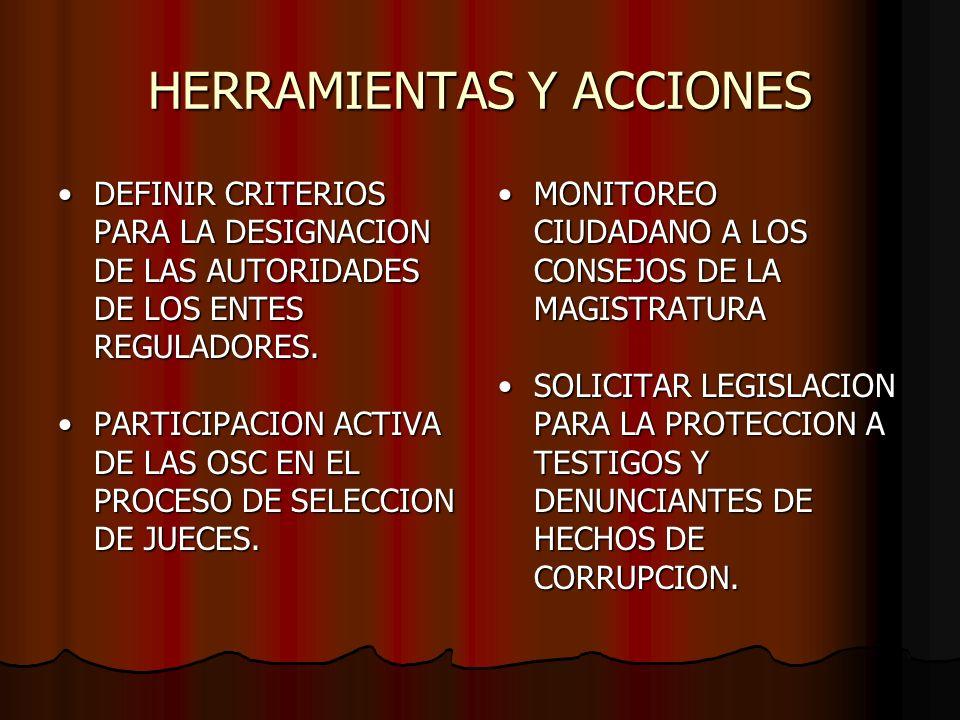 HERRAMIENTAS Y ACCIONES DEFINIR CRITERIOS PARA LA DESIGNACION DE LAS AUTORIDADES DE LOS ENTES REGULADORES.DEFINIR CRITERIOS PARA LA DESIGNACION DE LAS AUTORIDADES DE LOS ENTES REGULADORES.
