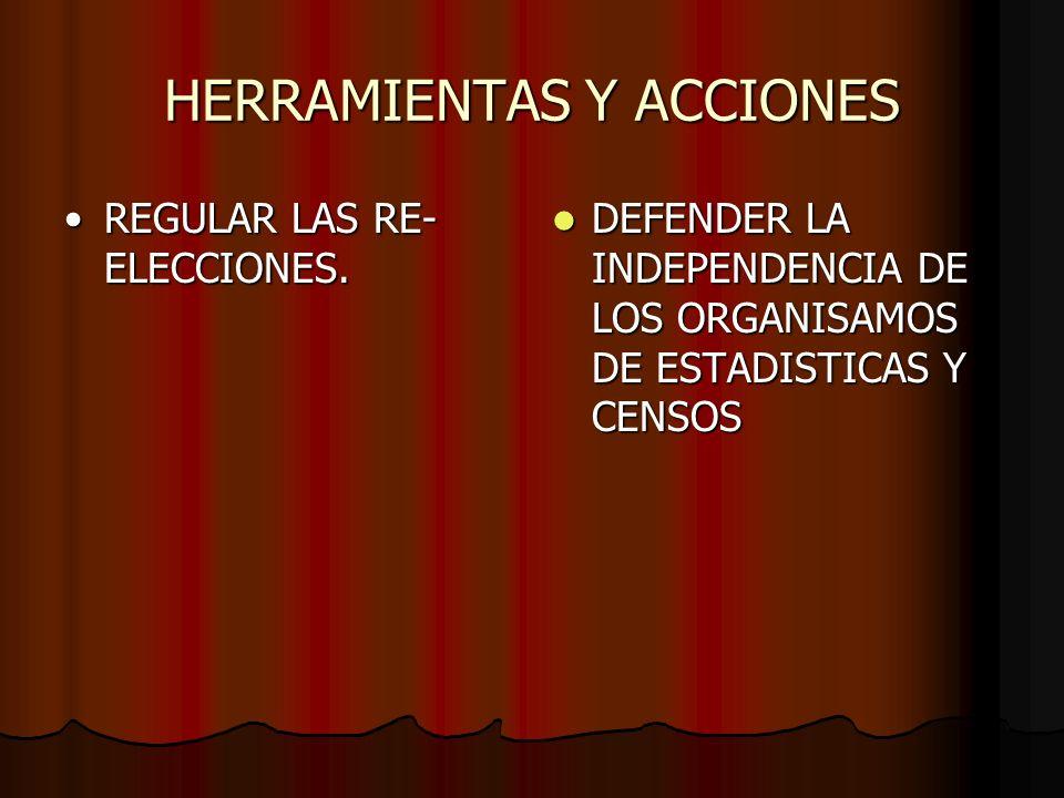 HERRAMIENTAS Y ACCIONES REGULAR LAS RE- ELECCIONES.REGULAR LAS RE- ELECCIONES. DEFENDER LA INDEPENDENCIA DE LOS ORGANISAMOS DE ESTADISTICAS Y CENSOS D