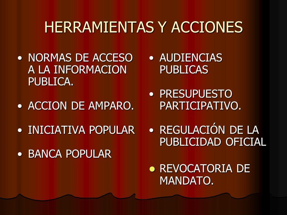 HERRAMIENTAS Y ACCIONES NORMAS DE ACCESO A LA INFORMACION PUBLICA.NORMAS DE ACCESO A LA INFORMACION PUBLICA. ACCION DE AMPARO.ACCION DE AMPARO. INICIA