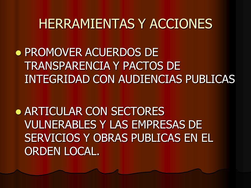 HERRAMIENTAS Y ACCIONES PROMOVER ACUERDOS DE TRANSPARENCIA Y PACTOS DE INTEGRIDAD CON AUDIENCIAS PUBLICAS PROMOVER ACUERDOS DE TRANSPARENCIA Y PACTOS DE INTEGRIDAD CON AUDIENCIAS PUBLICAS ARTICULAR CON SECTORES VULNERABLES Y LAS EMPRESAS DE SERVICIOS Y OBRAS PUBLICAS EN EL ORDEN LOCAL.