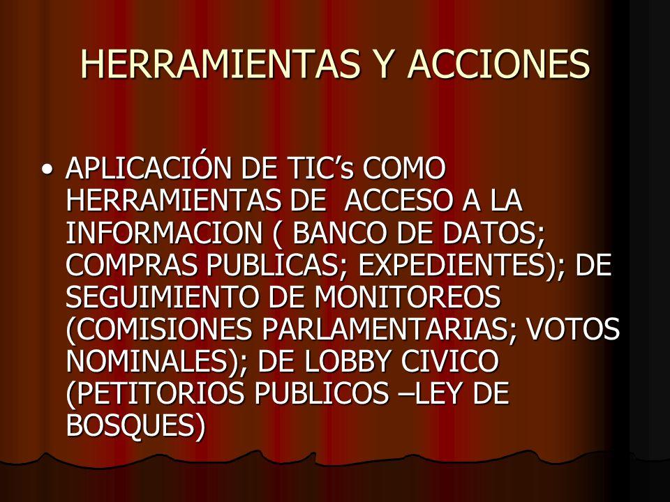 HERRAMIENTAS Y ACCIONES APLICACIÓN DE TICs COMO HERRAMIENTAS DE ACCESO A LA INFORMACION ( BANCO DE DATOS; COMPRAS PUBLICAS; EXPEDIENTES); DE SEGUIMIEN