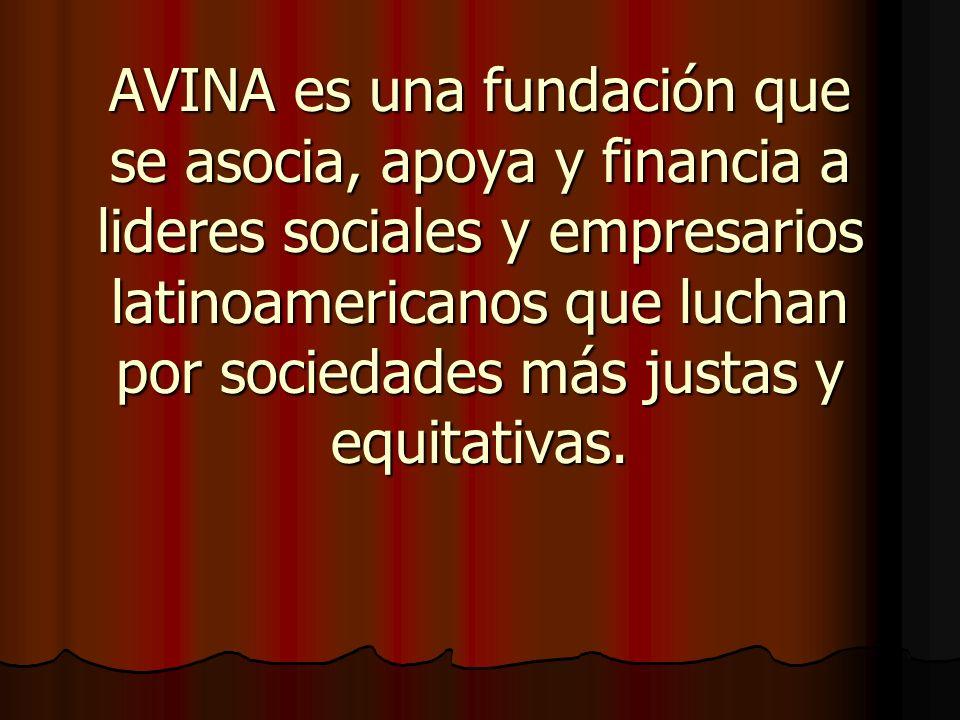 AVINA es una fundación que se asocia, apoya y financia a lideres sociales y empresarios latinoamericanos que luchan por sociedades más justas y equita