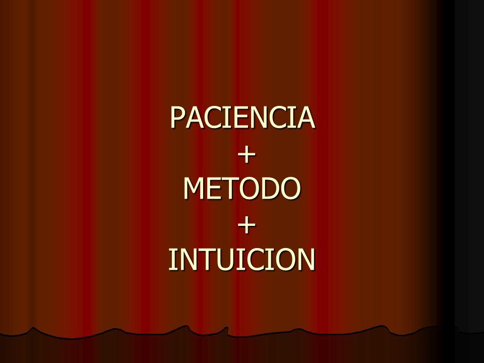 PACIENCIA + METODO + INTUICION