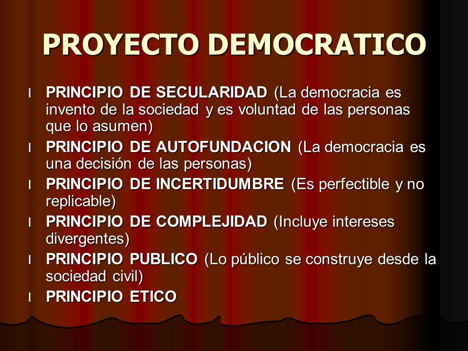 PROYECTO DEMOCRATICO l PRINCIPIO DE SECULARIDAD (La democracia es invento de la sociedad y es voluntad de las personas que lo asumen) l PRINCIPIO DE AUTOFUNDACION (La democracia es una decisión de las personas) l PRINCIPIO DE INCERTIDUMBRE (Es perfectible y no replicable) l PRINCIPIO DE COMPLEJIDAD (Incluye intereses divergentes) l PRINCIPIO PUBLICO (Lo público se construye desde la sociedad civil) l PRINCIPIO ETICO