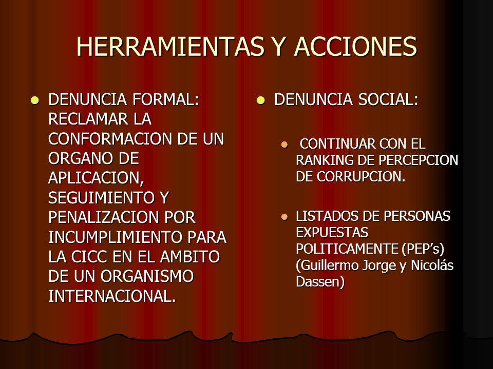 HERRAMIENTAS Y ACCIONES DENUNCIA FORMAL: RECLAMAR LA CONFORMACION DE UN ORGANO DE APLICACION, SEGUIMIENTO Y PENALIZACION POR INCUMPLIMIENTO PARA LA CI